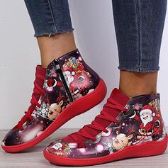 Vrouwen PU Flat Heel Enkel Laarzen Ronde neus met Vastrijgen Bloem Las kleur schoenen