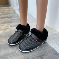 Vrouwen PU Flat Heel Enkel Laarzen Snowboots Ronde neus met Feather Effen kleur schoenen