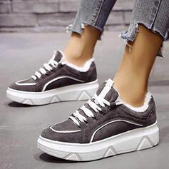Vrouwen PU Flat Heel Flats Ronde neus met Vastrijgen Stripe schoenen