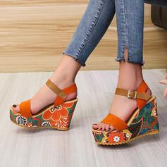 Vrouwen Suede Wedge Heel Sandalen Wedges Peep Toe met Hol-out Las kleur schoenen