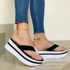 Vrouwen PU Wedge Heel Sandalen Pumps Wedges Flip Flops Slippers Hakken met Hol-out Effen kleur schoenen