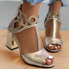Vrouwen Mesh Chunky Heel Sandalen Peep Toe Hakken met Rits Hol-out Effen kleur schoenen