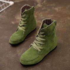 Vrouwen Stof Flat Heel Flats Laarzen met Vastrijgen schoenen