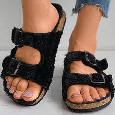 Vrouwen PU Flat Heel Sandalen Peep Toe Slippers met Gesp Hol-out schoenen