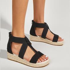 Vrouwen PU Flat Heel Sandalen Flats Plateau Peep Toe met Rits Hol-out schoenen
