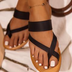 Vrouwen PU Flat Heel Sandalen Flats Slippers Teen Ring met Kriskras schoenen
