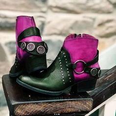 Vrouwen PU Low Heel Enkel Laarzen Rijlaarzen Ronde neus met Klinknagel Vastrijgen Las kleur schoenen