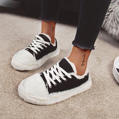 Vrouwen Suede Flat Heel Flats met Vastrijgen Lapwerk Las kleur schoenen