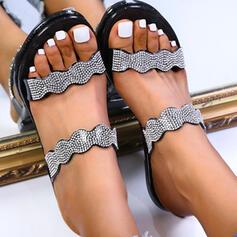 Vrouwen PVC Flat Heel Sandalen Flats Peep Toe Slippers Ronde neus met Parel schoenen