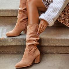 Vrouwen PU Chunky Heel Half-Kuit Laarzen Hakken Ronde neus met Ruched Effen kleur schoenen