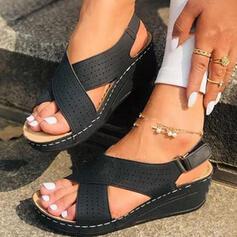 Vrouwen PU Wedge Heel Sandalen Peep Toe met Hol-out Velcro schoenen