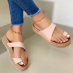 Vrouwen PU Flat Heel Sandalen Plateau Peep Toe Slippers Teen Ring met Hol-out Las kleur schoenen