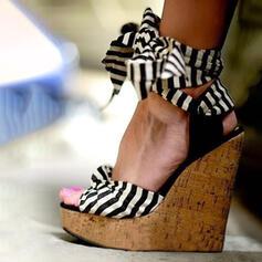 Vrouwen Doek Wedge Heel Sandalen Wedges Peep Toe Hakken met Vastrijgen Hol-out schoenen