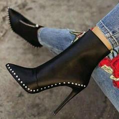 Vrouwen PU Stiletto Heel Pumps Puntige teen met Klinknagel Rits schoenen
