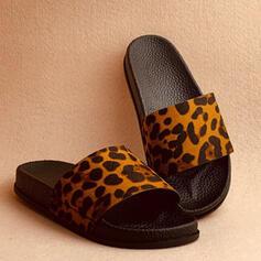 Vrouwen PU Flat Heel Sandalen Peep Toe Slippers met Dier Afdrukken Las kleur schoenen