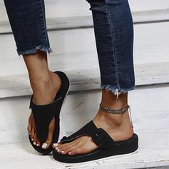 Vrouwen Suede Flat Heel Sandalen Flip Flops Slippers Ronde neus met Gesp schoenen