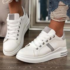 Vrouwen PU Flat Heel Flats Ronde neus Dans Sneakers met Vastrijgen schoenen