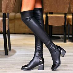 Vrouwen PU Chunky Heel Over De Knie Laarzen Ronde neus met Ruched Effen kleur schoenen