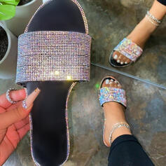 Vrouwen Kunstleer Flat Heel Sandalen Flats Peep Toe Slippers met Strass Hol-out schoenen