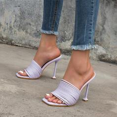 Vrouwen PU Stiletto Heel Sandalen Pumps Peep Toe Vierkante teen Hakken met Hol-out Effen kleur schoenen
