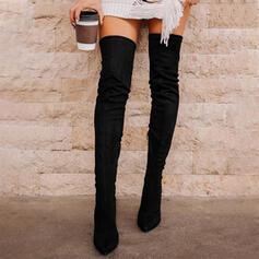 Vrouwen Suede Stiletto Heel Over De Knie Laarzen Puntige teen met Vastrijgen Effen kleur schoenen