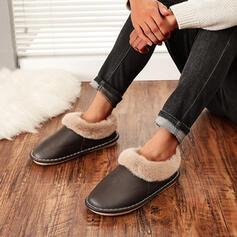 Vrouwen Suede Flat Heel Flats Ronde neus met Nep bont Effen kleur schoenen