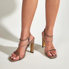 Vrouwen PU Stiletto Heel Sandalen Pumps Peep Toe Vierkante teen Hakken met Keten Hol-out schoenen