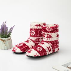 Vrouwen PU Flat Heel Snowboots Ronde neus Winterlaarzen met Dier Afdrukken Geborduurd schoenen