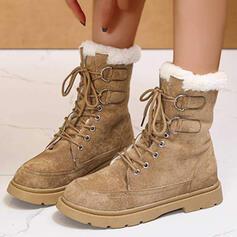 Vrouwen PU Flat Heel Enkel Laarzen Martin Boots Ronde neus Winterlaarzen met Gesp Vastrijgen schoenen