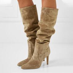 Vrouwen Suede Stiletto Heel Half-Kuit Laarzen Puntige teen met Ruched Effen kleur schoenen