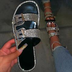 Vrouwen Kunstleer Sprankelende Glitter Flat Heel Sandalen Flats Peep Toe Slippers met Strass Gesp schoenen