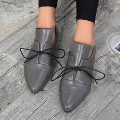 Vrouwen PU Flat Heel Flats met Vastrijgen Lapwerk schoenen