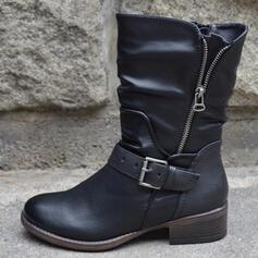 Vrouwen PU Low Heel Half-Kuit Laarzen Ronde neus met Rits Anderen schoenen