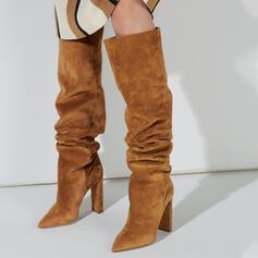 Vrouwen Suede Chunky Heel Knie Lengte Laarzen Winterlaarzen met Effen kleur schoenen