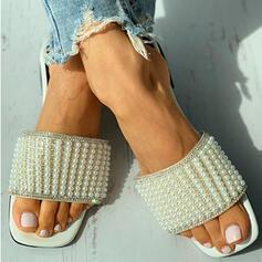 Vrouwen PU Flat Heel Sandalen Flats Peep Toe Slippers met Imitatie Parel Hol-out schoenen