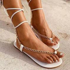 Vrouwen PU Flat Heel Sandalen Flats Peep Toe Teen Ring Ronde neus met Keten Vastrijgen schoenen