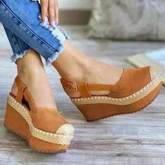 Vrouwen Doek Wedge Heel Sandalen Wedges Peep Toe Hakken Ronde neus met Gesp Effen kleur schoenen