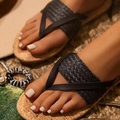 Vrouwen PU Flat Heel Sandalen Flats Peep Toe Flip Flops Slippers Ronde neus met Gevlochten Riempje Gesplitste Stof schoenen
