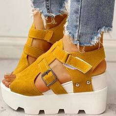 Vrouwen PU Wedge Heel Sandalen Pumps Peep Toe Hakken met Gesp Velcro Effen kleur schoenen
