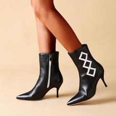 Vrouwen PU Stiletto Heel Enkel Laarzen Puntige teen met Rits Colorblock schoenen