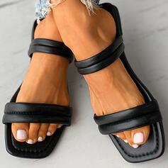Vrouwen PU Flat Heel Sandalen Flats Peep Toe Slippers met Hol-out schoenen