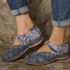 Vrouwen PU Flat Heel Flats Ronde neus Loafers & Slip-Ons met Velcro Las kleur schoenen