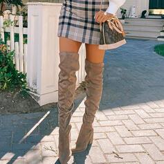 Vrouwen Suede Chunky Heel Over De Knie Laarzen Ronde neus met Ruched Effen kleur schoenen