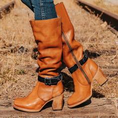 Vrouwen Kunstleer Chunky Heel Knie Lengte Laarzen Martin Boots Ronde neus Gevechtslaarzen met Gesp schoenen