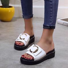 Vrouwen PU Wedge Heel Sandalen Plateau Wedges Peep Toe Slippers Hakken met Gesp schoenen