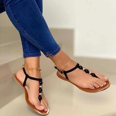 Vrouwen Kunstleer Flat Heel Sandalen Peep Toe met Hol-out schoenen