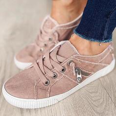 Vrouwen Zeildoek Flat Heel Flats Lage top Espadrille Loafers & Slip-Ons met Vastrijgen Effen kleur schoenen