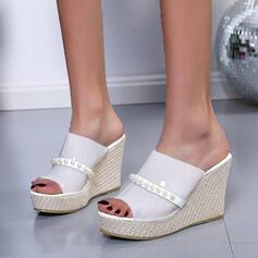 Vrouwen PU Wedge Heel Sandalen Plateau Wedges Peep Toe Slippers Hakken met Kralen Hol-out schoenen