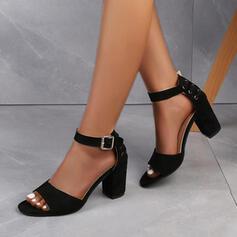 Vrouwen Suede Chunky Heel Sandalen Pumps Peep Toe Hakken met Gesp Hol-out schoenen