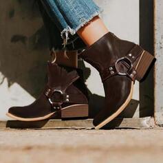 Vrouwen PU Chunky Heel Enkel Laarzen Puntige teen met Gesp Rits Anderen schoenen